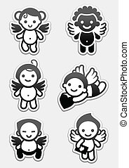 Stickers angels. set icons