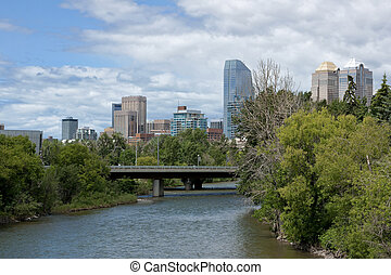 Canada Calgary - 9 July 2011: Skyline seen from over the...