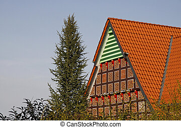 Timbered house in Germany - Half-timbering house in...