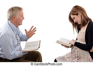 Spiritual time - Christian father talking to his daughter...