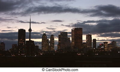 Toronto skyline Timelapse clouds - A timelapse shot at dusk,...