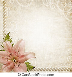 Paper grunge background with pink lily - Romantic background...