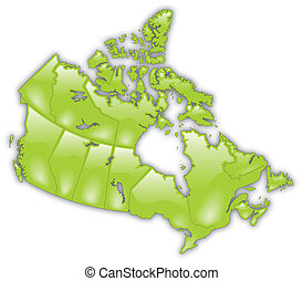 Detailed Map of Canada - A stylized and detailed map of...