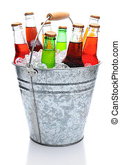 Assorted Soda Bottles in Ice Bucket