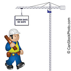 health and safety message - Crane with construction health...