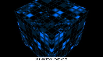 Rotating cube - The blue shone cube rotates against a dark...