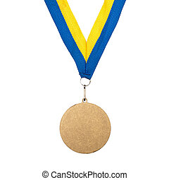 Gold Medal on a ribbon - Gold Medal isolated on white...