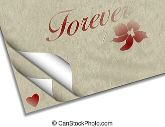 Forever love - Sheets of paper with a heart a flower and...