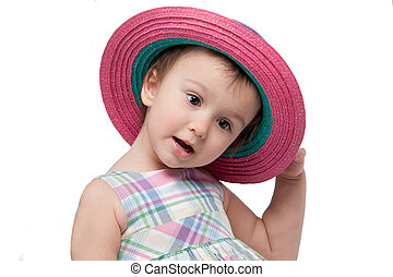 Charming little girl wearing pink hat isolated