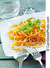 Plate Of Healthy Pasta - Plate of delicious pasta topped...