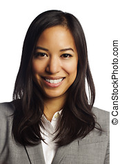 Cheerful asian business woman smiling at camera - Closeup of...
