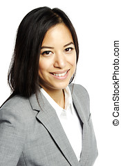 Asian business woman smiling - Headshot of Asian business...