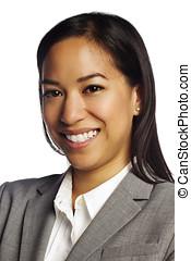Confident asian business woman on white - Closeup portrait...