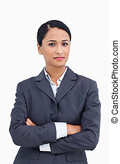Close up of saleswoman with arms folded