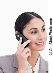 Close up of businesswoman talking on her cellphone