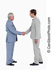 Side view of smiling tradesmen shaking hands