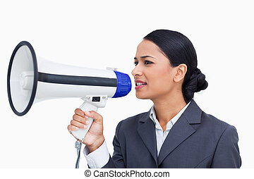 fim, cima, saleswoman, usando, megafone
