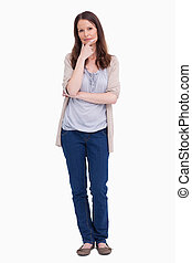 Woman in thinkers pose against a white background