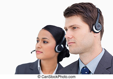 Close up of call center team