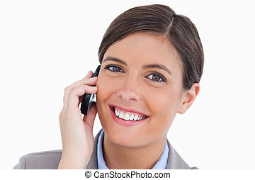 Close up of female entrepreneur on her mobile phone
