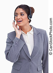 Female call center employee looking to the side