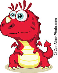 Cute cartoon dragon - Red cartoon dragon isolated. Vector...