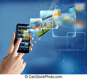 moderno, tecnología, smartphone