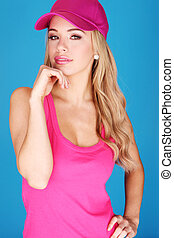 Pretty Blonde Chic in Pink dress and Hat