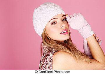 Pretty Woman In Winter Accessories