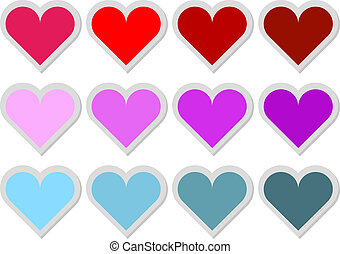 Set of 12 Heart Stickers