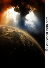 Planet in dark sky - Apocaliptic background - planet in dark...