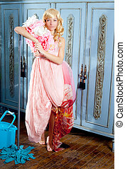fashion vintage blond housewife cleaning mop chores