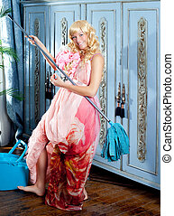 fashion vintage blond housewife cleaning mop chores -...