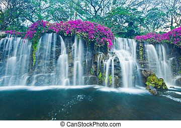 Waterfall - Beautiful Blue Waterfall in Hawaii