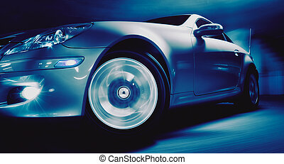 Sports Car - Fancy Sports Car on Road in Motion
