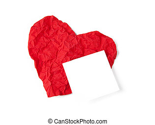 Red crumpl paper heart