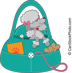 Travel Poodle - A dainty grey poodle with pink collar and...