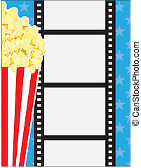 Film and Popcorn - A cinematic background, with popcorn in a...