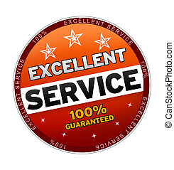 100% Excellent Service Button on white background.