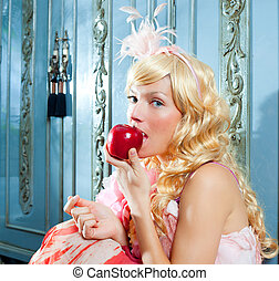 blond fashion princess eating apple with flowers dres -...