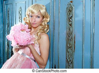 rubio, Moda, princesa, vendimia, flores, Vestido
