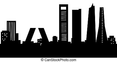 Cartoon Madrid - Cartoon skyline silhouette of the city of...