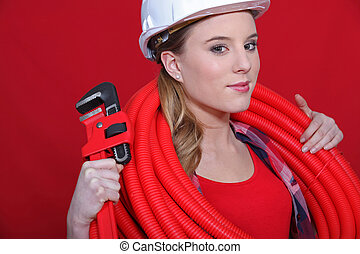 Red themed female plumber
