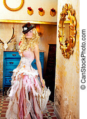 blond fashion woman in vintage baroque with umbrella