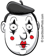 Cartoon Mime - Cartoon face of a mime in makeup.