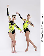 Two young acrobats relax portrait