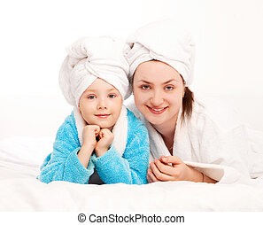 mother and daughter - beautiful young mother and her five...