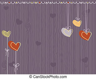Love greeting card with hearts
