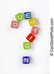 Text nd sign question on colorful cubes