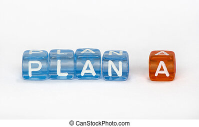 Text Plan A on colorful cubes over white